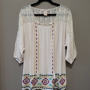 Flying Tomato Embroidery and Lace Boho Blouse